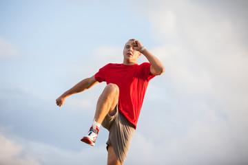 Running fitness man