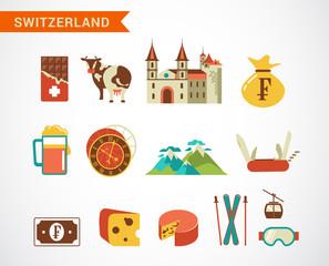 Switzerland -  vector icons set