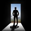 Businessman at the door