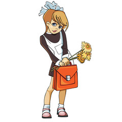 Girl schoolgirl in school uniform with a briefcase and flowers
