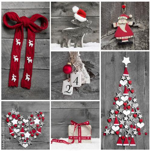 Weihnachtsdekoration in Rot, Weiß und Grau auf Holz