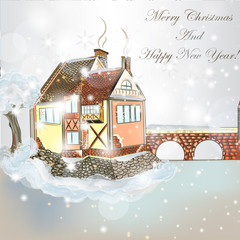 Christmas scene with house in snow