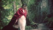 Mysterious red riding hood walking in forest, super slow motion