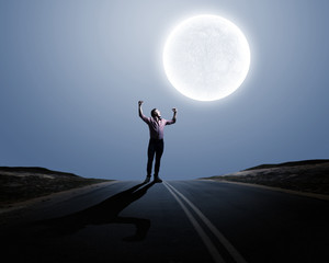 Man and full moon