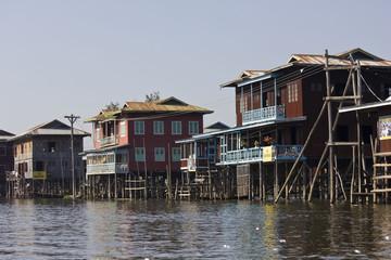Typical floating houses on Inle Lake, Myanmar