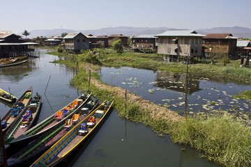 Typical floating houses on Inle Lake, Myanmar.