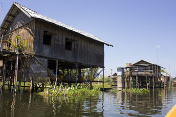 Typical floating houses on Inle Lake, Myanmar.