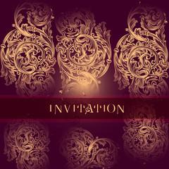 Luxury vector invitation with swirl ornament