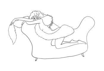 sexy girl sitting on a sofa, vector illustration
