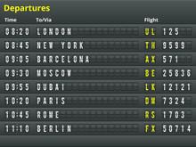 Aéroport tableau des départs.