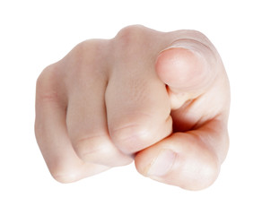 Hand pointing at you on white background