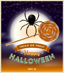 Halloween illustration - spider with lollipop candy