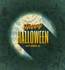 Halloween type design on a hand drawn background