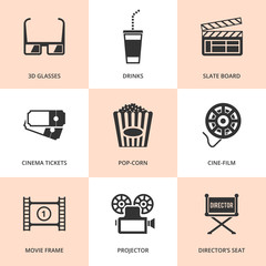 Set of black cinema icons.