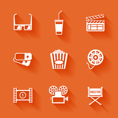 Set of white cinema movie icons.