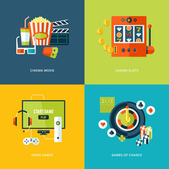 Set of flat design concept icons for entertainment kinds.