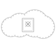 A white cloud with a safe. Raster