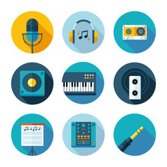 Set of flat music and sound icons.