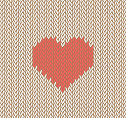 Knitted vector seamless pattern with red heart