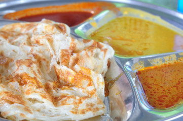 Curry and Roti canai flat bread, Indian food