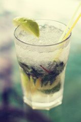 Mojito cocktail. Photo toned style instagram filters