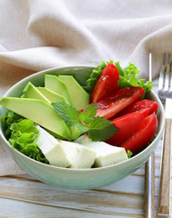 salad in asian style with tofu cheese