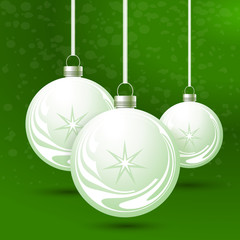 Green background with Christmas balls