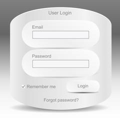 Web elements. Register and login web window
