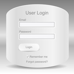Web elements. Register and login web window