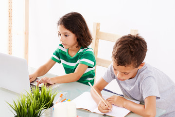 Back to School. Couple of kids doing some homework