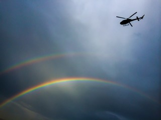 Double rainbow and helicopter
