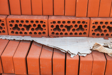 Stack of silicate bricks. Closeup.
