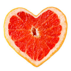 Grapefruit  in shape of heart isolated on white