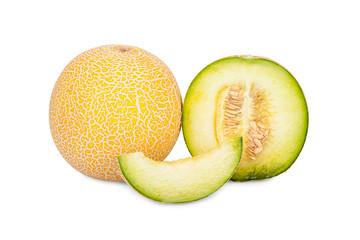 Ganze Galiamelone, Melone im Querschnitt und Stück