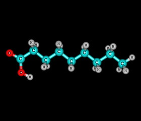 Nonanoic (pelargonic) acid molecule isolated on black