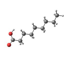 Nonanoic (pelargonic) acid molecule isolated on white