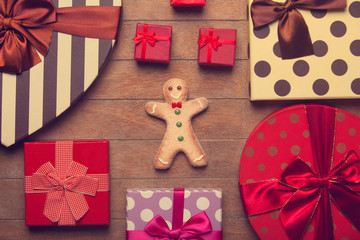 Cookie man and christmas gifts around