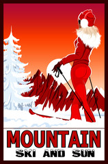 Poster of a woman practicing ski in the white snowy mountains