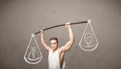 muscular man trying to get balanced