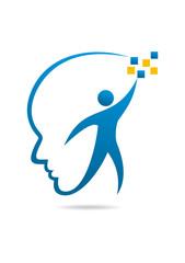 Brain technology logo intelligence healthy human