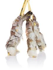 Raw eby shrimp isolated on white background. Shashlik