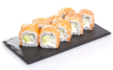 Sushi roll isolated on white background