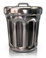 Silver trash can icon
