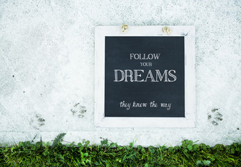 rustic chalkboard decoration with inspirational quote
