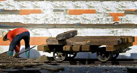 thai worker do hard work ,repairing railway.