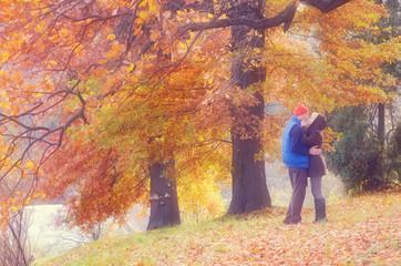 Couple in autumn park