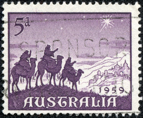 stamp shows Approach of the Magi, Christmas