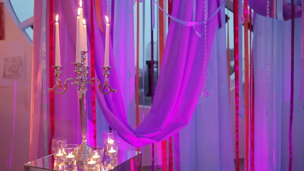 Ribbon decoration with candles