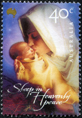 stamp printed in AUSTRALIA shows image of Mary