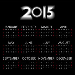 Simple calendar 2015 Dark black tone, Vector EPS 10